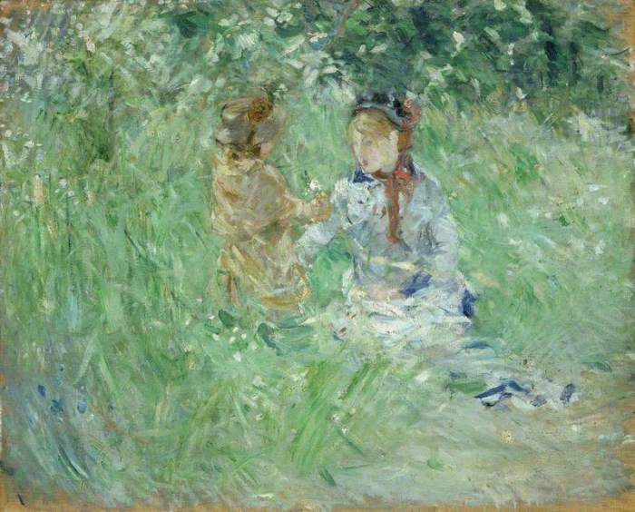 Morisot, Berthe, 1841-1895; Woman and Child in a Meadow at Bougival