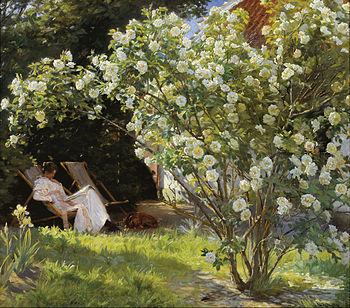 P.S._Krøyer_-_Roses._Marie_Krøyer_seated